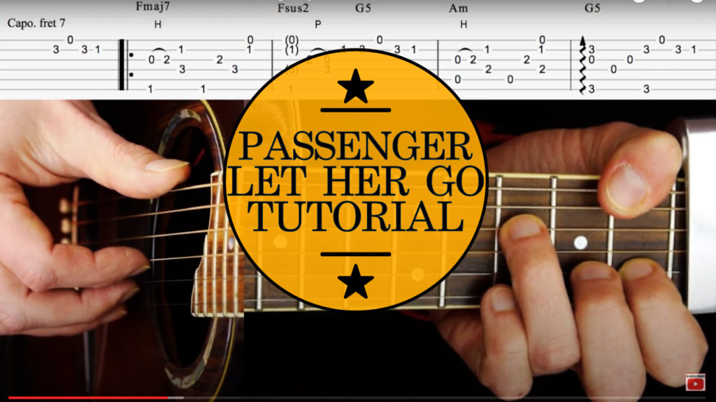 Learn how to play fingerstyle guitar. Passenger Let Her Go Guitar Tutorial. Acoustic guitar lesson with on screen chords/tab and picking.