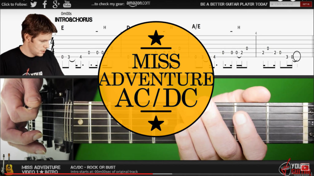Learn how to play miss adventure tab. AC DC guitar lesson. Easy step by step guitar tutorial. Angus Young Guitar