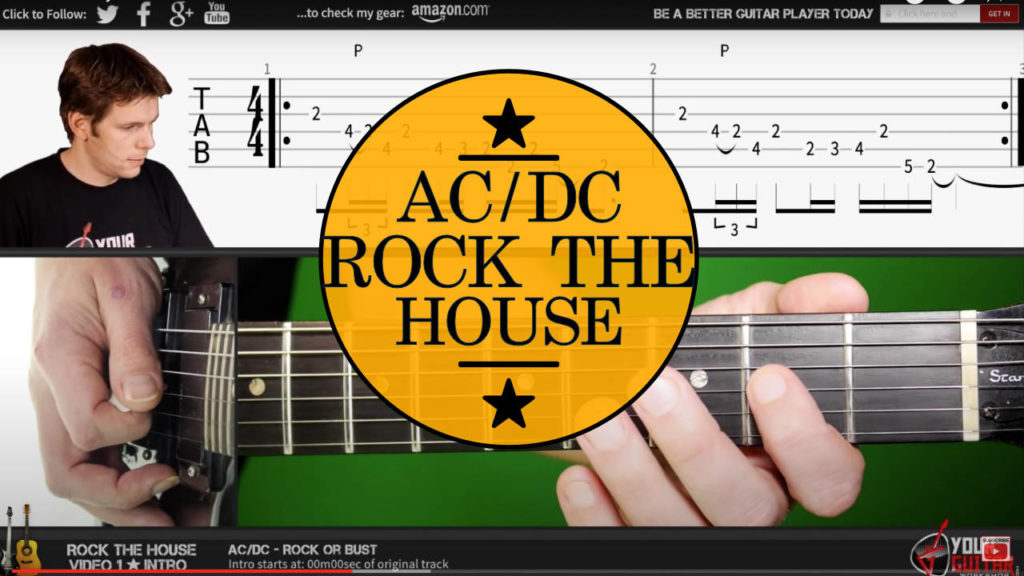 Learn how to play rock the house tab. AC DC guitar lesson. Easy step by step guitar tutorial. Angus Young Guitar