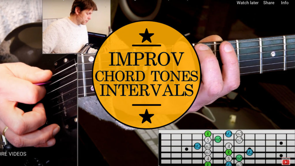 Learn how to improvise a solo: Chord Tones Guitar Lesson - Exploring Sounds using the CAGED system combined with intervals.
