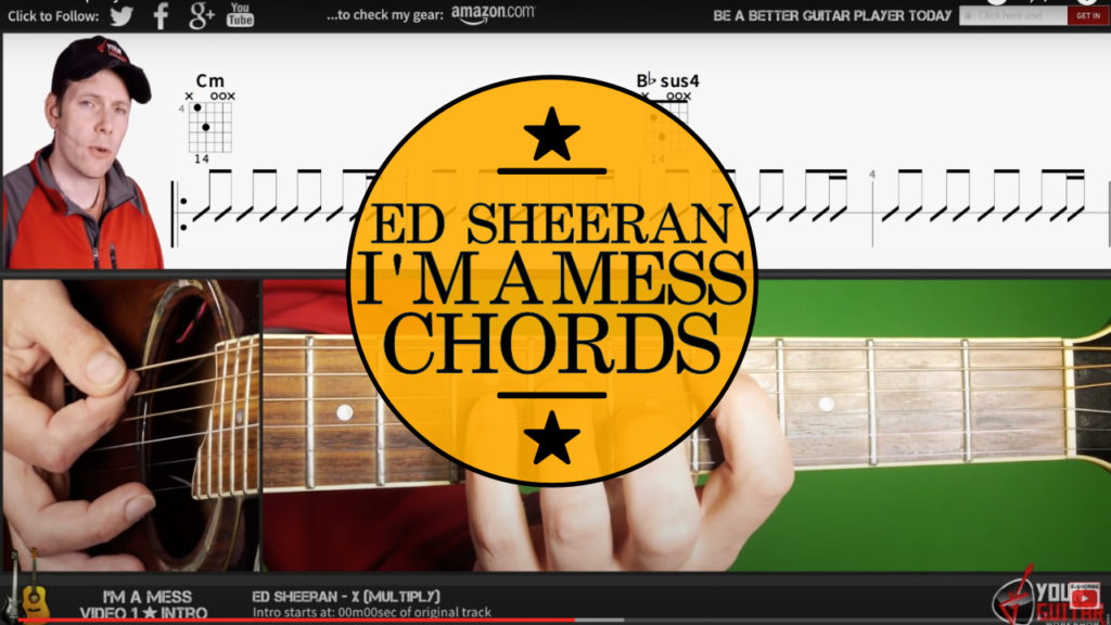 Learn how to play Ed Sheeran I'm A Mess Chords guitar lesson. Easy step by step guitar tutorial with chords and strumming on screen.