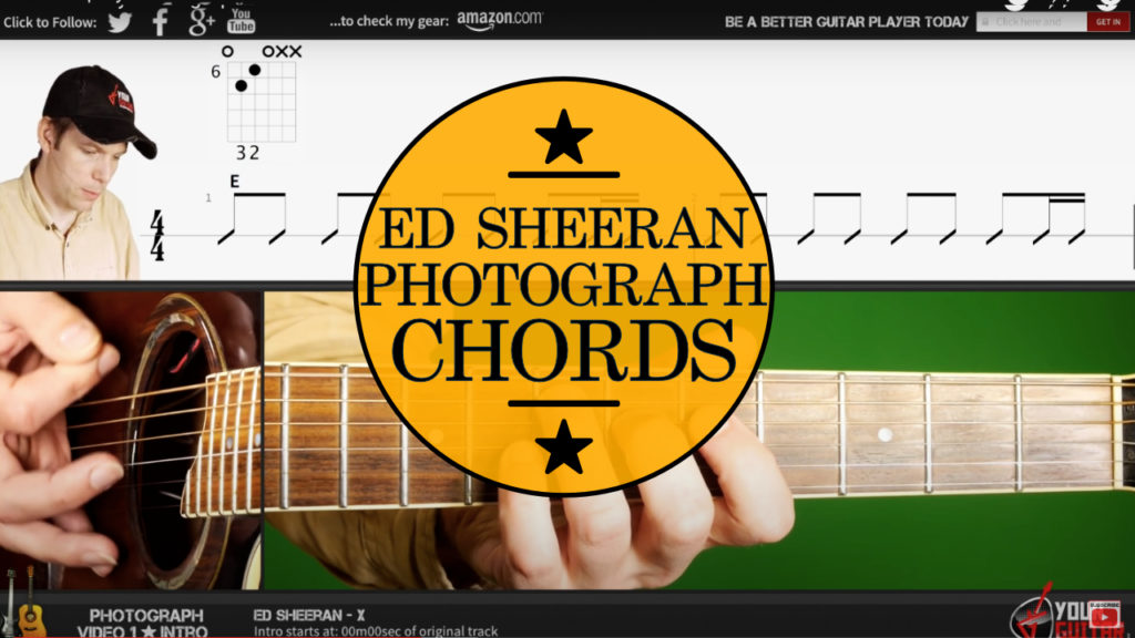 Learn how to play Ed Sheeran Photograph Chords tutorial. Easy step by step guitar lesson with chords and strumming on screen.