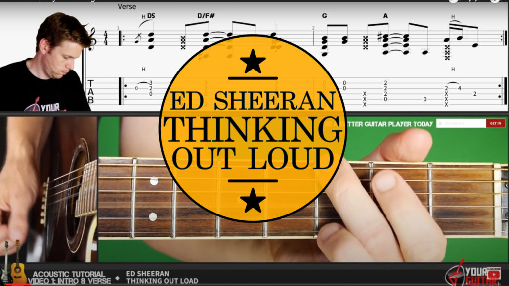 How to play Ed Sheeran Thinking Out Loud Chords. Easy guitar tutorial with on screen tablature and chords. Album: Multiply