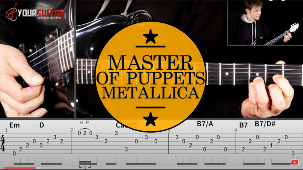 How to play: Metallica Master Of Puppets Guitar Lesson. Full tutorial with chords, Kirk Hammett guitar solo, and on screen tablature.