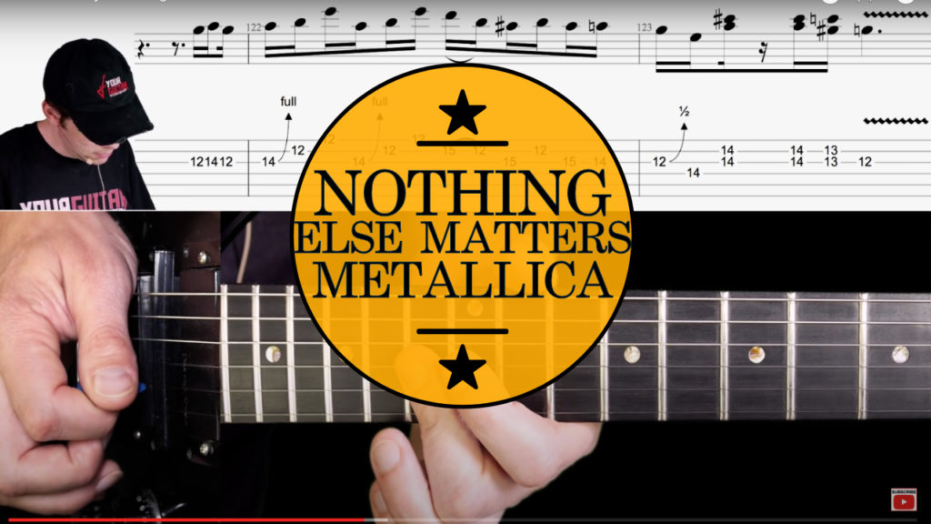 How to play: Metallica Nothing Else Matters Guitar Lesson. Full tutorial with chords, (finger) picking, solo, and on screen tablature.