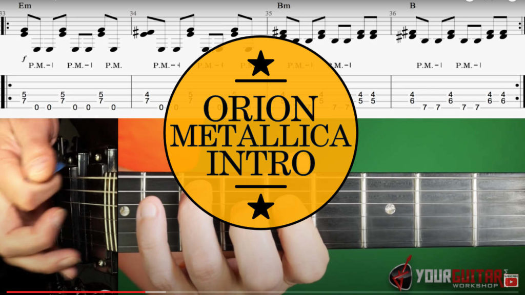 How to play Metallica Orion Guitar Lesson. Tutorial with chords, Kirk Hammett guitar solo, and on screen tablature. Album: Master Of Puppets