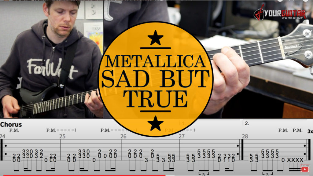 Learn how to play: Metallica Sad But True Guitar Lesson. Tuning Whole Step Down. Step by step video tutorial. Kirk Hammett, James Hetfield.
