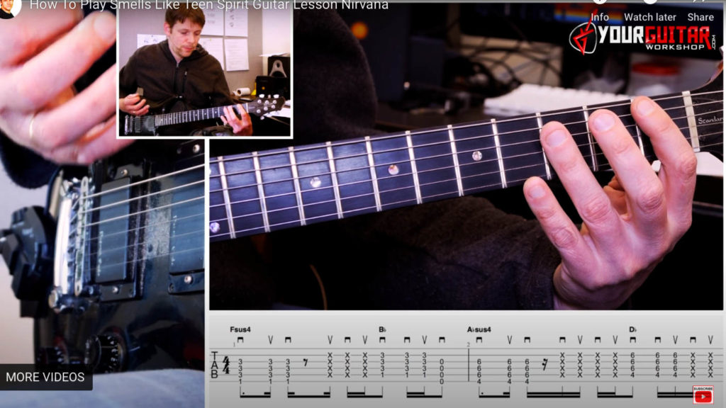 Learn how to play guitar. Nirvana Smells Like Teen Spirit Guitar Lesson is an easy step by step video tutorial with tab available for patrons.