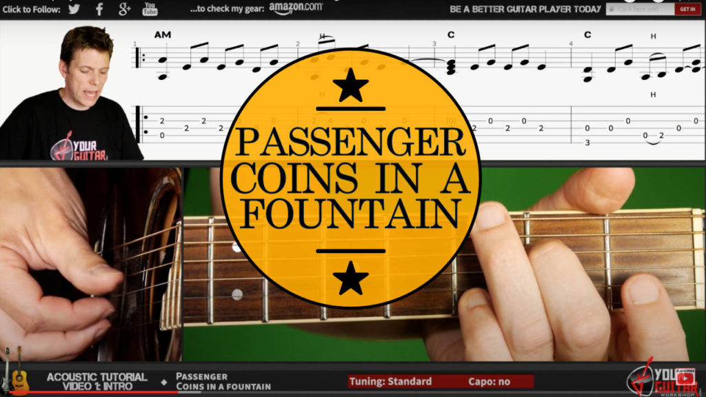 Learn how to play fingerstyle guitar. Passenger Coins In A Fountain Guitar Tutorial. Acoustic guitar lesson with on screen chords/tab and picking.