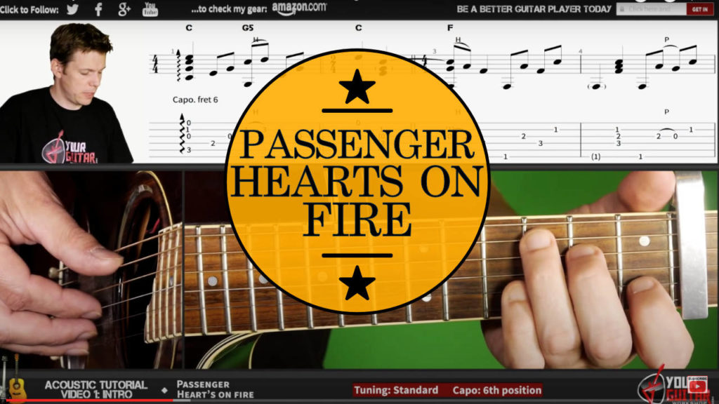 Learn how to play fingerstyle. Passenger Hearts On Fire Guitar Tutorial. Easy acoustic guitar lesson with on screen chords/tab and picking.