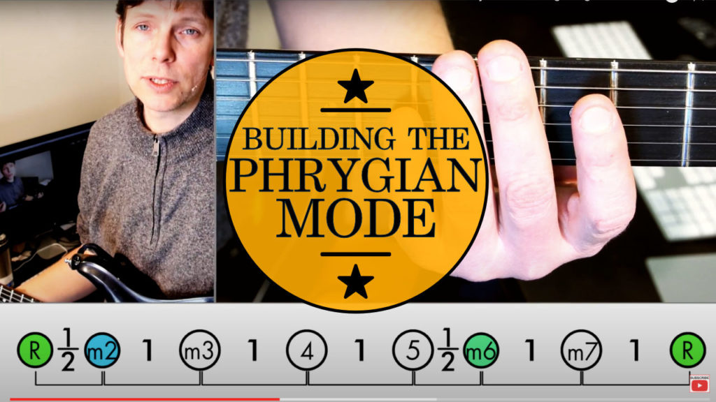 Learn how to play guitar scales: Phrygian Mode Guitar Lesson! Building the Phrygian scale from the minor pentatonic scale, adding 2 intervals.