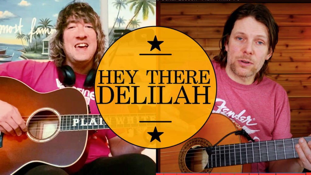 hey there Delilah guitar chords and fingerstyle tutorial